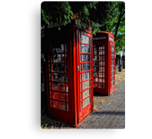 2 Red telephone boxes Canvas Print