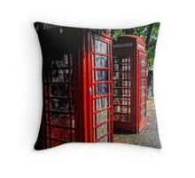 2 Red telephone boxes Throw Pillow