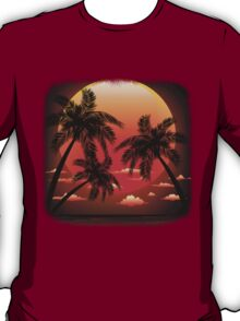 Warm Topical Sunset with Palm Trees T-Shirt
