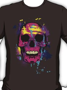 Cool Colorful Skull with Paint Splatters and Drips T-Shirt