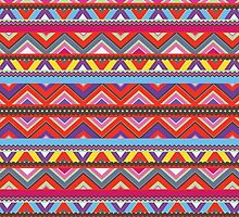 Aztec #10 - Red Pattern by Orna Artzi