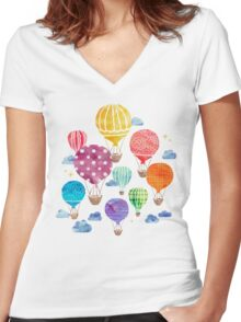 Hot Air Balloon Night Women's Fitted V-Neck T-Shirt