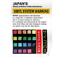 Psycho_Pass Sibyl System Warning Crime Coefficient Poster