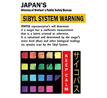 Psycho_Pass Sibyl System Warning Crime Coefficient Photographic Print