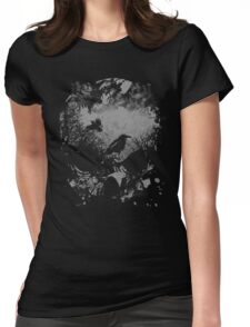 Skull with Crows - Grunge Womens Fitted T-Shirt
