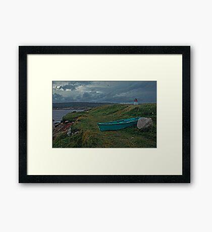 Nova Scotia skiff and lighthouse Framed Print
