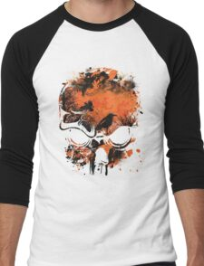 Skull with Crows - Distressed Grunge Men's Baseball ¾ T-Shirt
