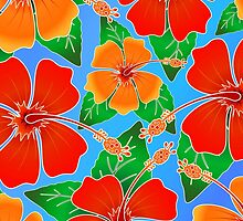 Hibiscus Batik Pattern by BluedarkArt