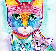 Rainbow Mom Cat and Kittens by Ryan Conners