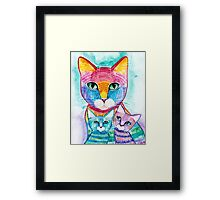 Rainbow Mom Cat and Kittens Framed Print