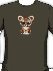 Cute Baby Tiger Cub Wearing Glasses on Brown T-Shirt