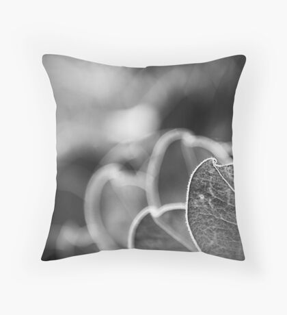 Leaves in shades of grey Throw Pillow