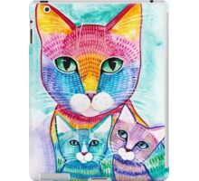 Rainbow Mom Cat and Kittens iPad Case/Skin