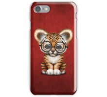 Cute Baby Tiger Cub Wearing Glasses on Red iPhone Case/Skin