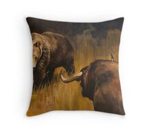 Bear Vs Bull Throw Pillow