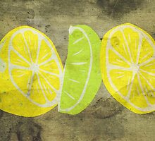 Pop Art Lemon Lime with Canvas Texture and Stains - Prints by Denis Marsili - DDTK