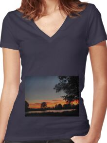 A walk at dusk Women's Fitted V-Neck T-Shirt