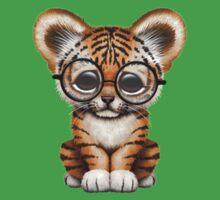 Cute Baby Tiger Cub Wearing Glasses on Teal Blue Kids Tee