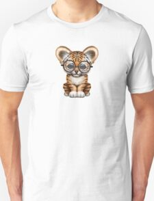 Cute Baby Tiger Cub Wearing Glasses on Teal Blue Unisex T-Shirt