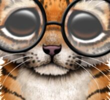 Cute Baby Tiger Cub Wearing Glasses on Teal Blue Sticker