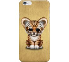 Cute Baby Tiger Cub on Brown iPhone Case/Skin