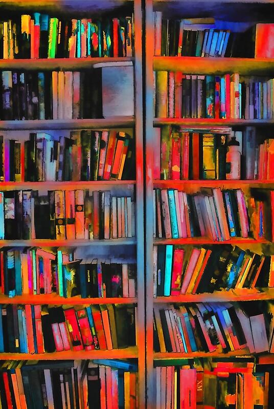 Orange Rainbow Bookshelves Framed Prints By Bloomingvine