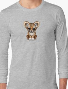 Cute Baby Tiger Cub on Teal Blue Long Sleeve T-Shirt