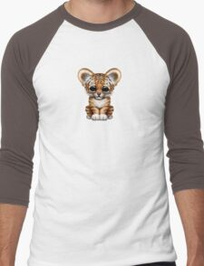 Cute Baby Tiger Cub on Teal Blue Men's Baseball ¾ T-Shirt