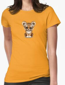 Cute Baby Tiger Cub on Teal Blue Womens Fitted T-Shirt