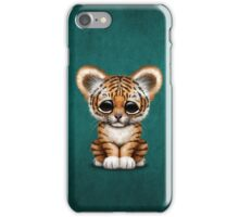 Cute Baby Tiger Cub on Teal Blue iPhone Case/Skin