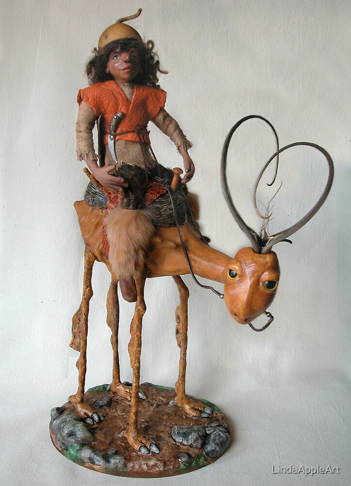 Nightrider - art doll sculpture by LindaAppleArt