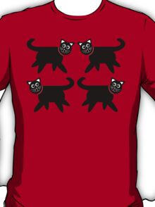 4 Black Cats in Red Collars T-Shirt