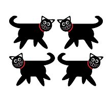 4 Black Cats in Red Collars by Jean Gregory  Evans