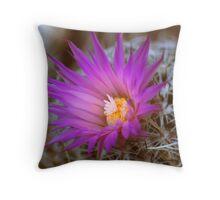 Barrel Cactus In Bloom Throw Pillow