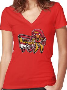 Sneaky Mascot Tag Women's Fitted V-Neck T-Shirt
