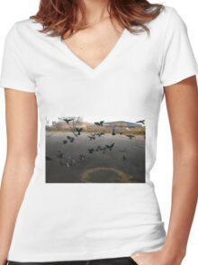 Pigeons Flight in Montreal Suburb. Women's Fitted V-Neck T-Shirt