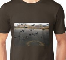 Pigeons Flight in Montreal Suburb. Unisex T-Shirt