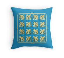Regal Blue and Gold Pattern Throw Pillow