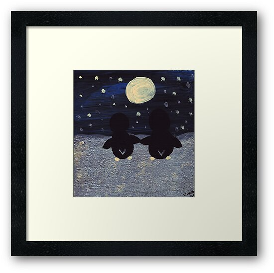 Penguin by Moonlight by ValeriesGallery