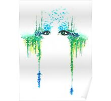 """Nirvana"" Green Calm Eyes Watercolour Poster"