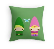 Gnome Link and Zelda Throw Pillow