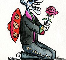 Romantic Singing Skeleton Mariachi with Rose by Candace Byington