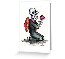 Romantic Singing Skeleton Mariachi with Rose Greeting Card