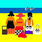 Beach ladies watching a yacht race. by rodesigns