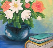 Books and Flowers by L.W. Turek