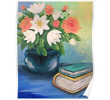 Books and Flowers Poster