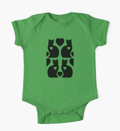 Cats Hearts (Green/Black) One Piece - Short Sleeve