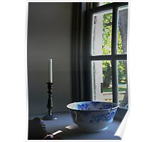 Blue Flowered Bowl Poster