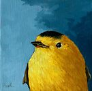Baby Warbler - bird painting by LindaAppleArt