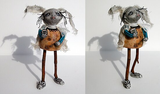 """B"" is for Bunny - sculpture,art doll by LindaAppleArt"